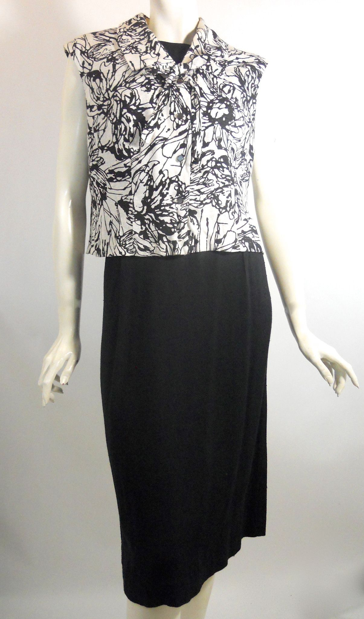 Linen Weave Rayon Little Black Dress with Overblouse circa 1960s