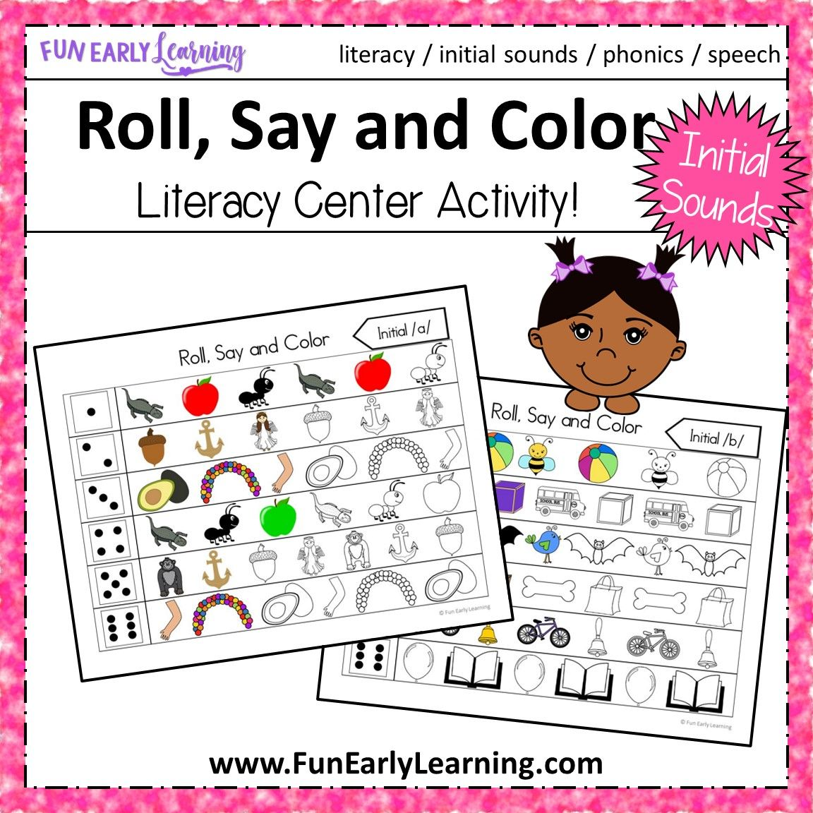 Roll, Say and Color Initial Sounds (With images) Initial