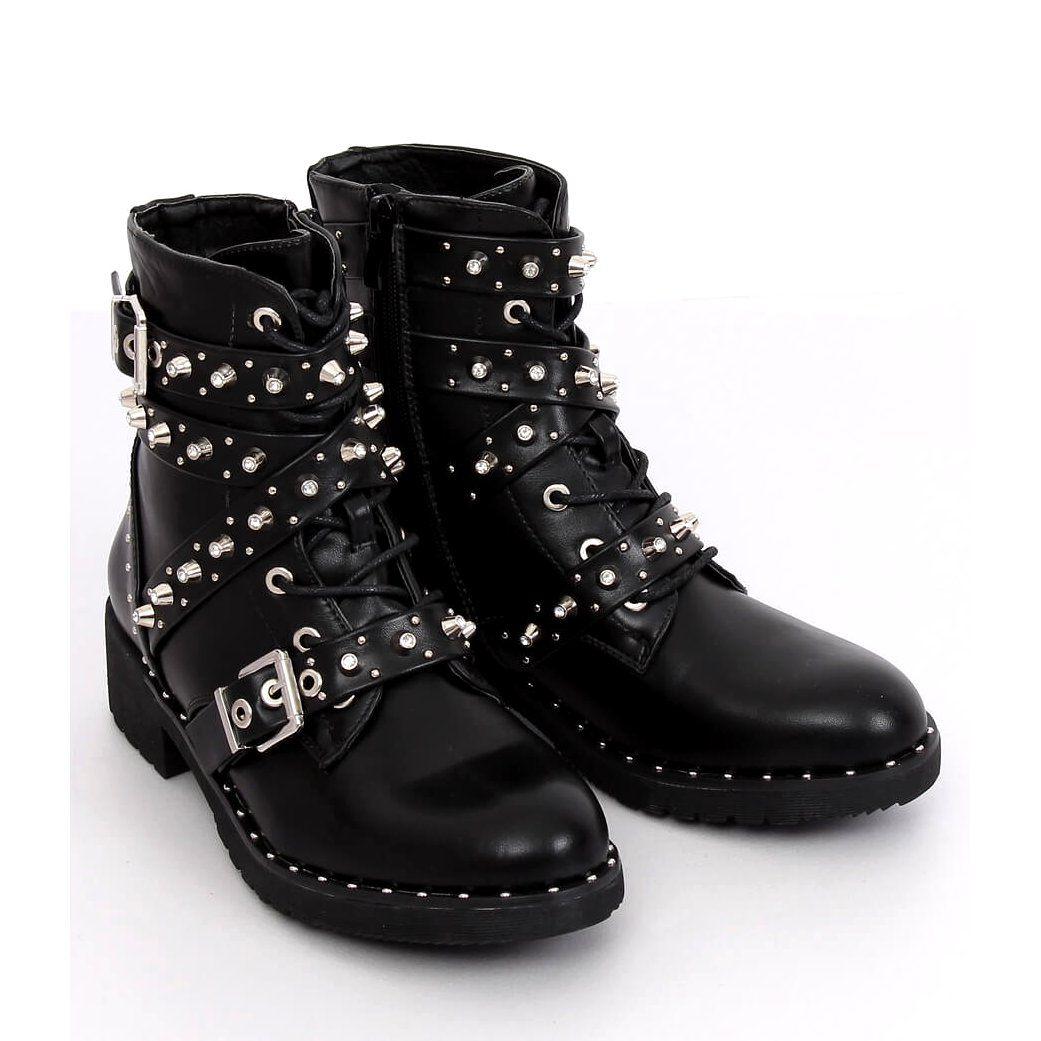 Botki Z Cwiekami Czarne Nc830 Black Boots Boot Shoes Women Womens Boots