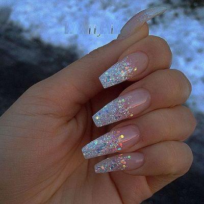 Superlative White And Silver Coffin Nail Designs Glitter Cute Acrylic Nails Nail Designs