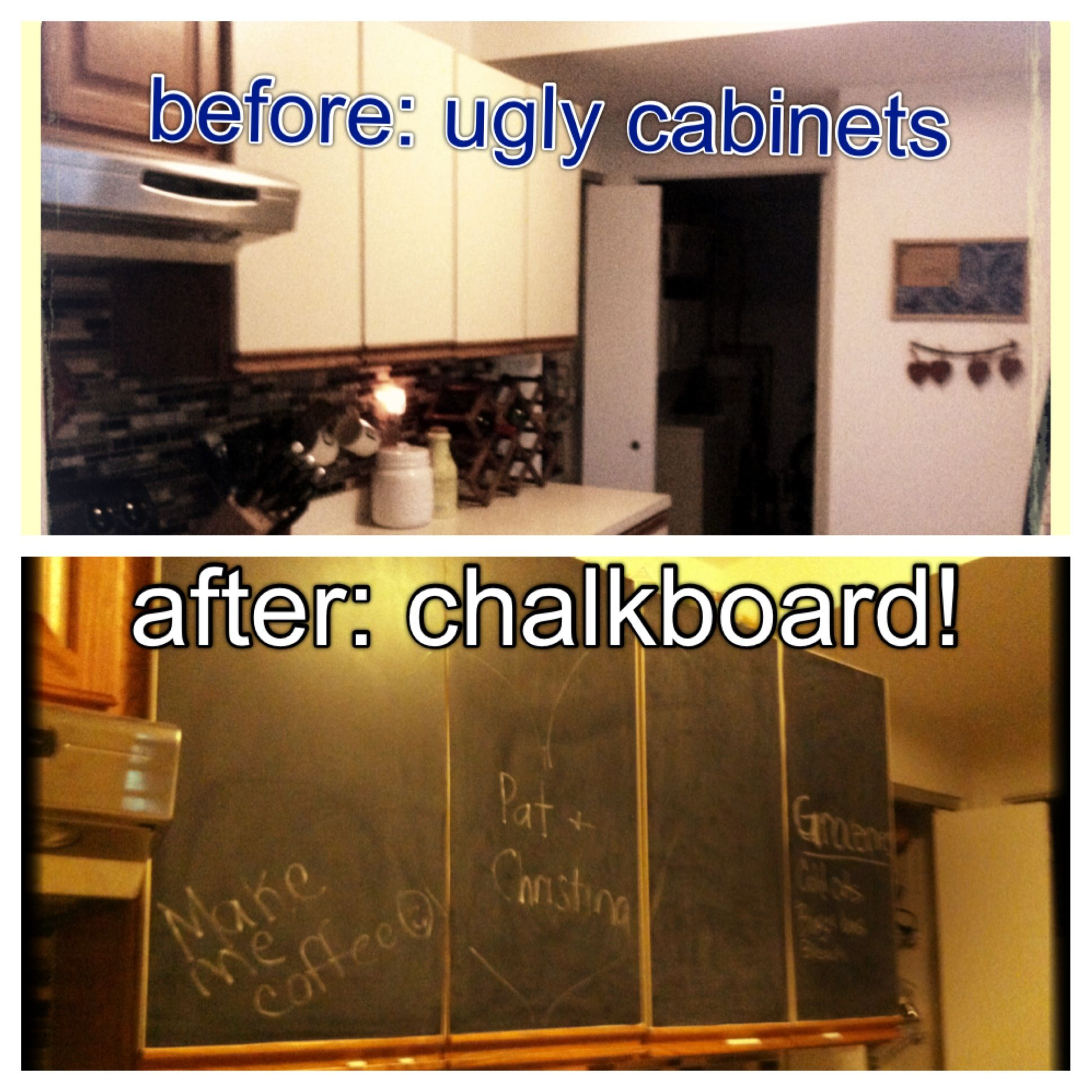 Redid my kitchen cabinets on $15 of chalkboard contact paper