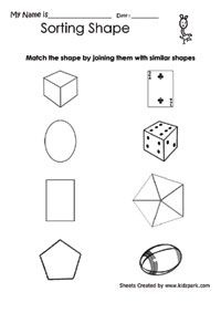 Geometric Shapes Sorting Worksheet For Class 1,Math Shapes