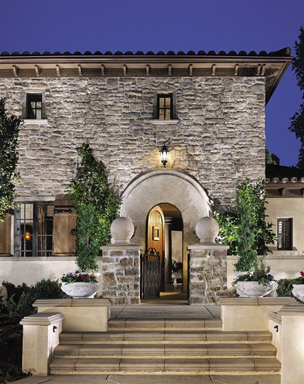 Eldorado Stone Cliffstone Montecito Home Design Ideas Pictures Remodel And Decor: Italian Stone Facade With Grand Arched Entryway And Stone Pillars On Walkway