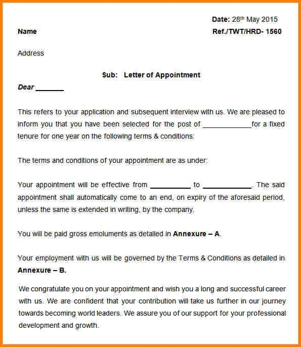Appointment Latters Mple Letterg Letter Format For School Teacher