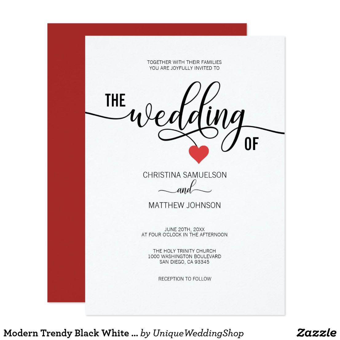 Modern Trendy Black White & Red Heart Wedding Card | Valentine\'s Day ...