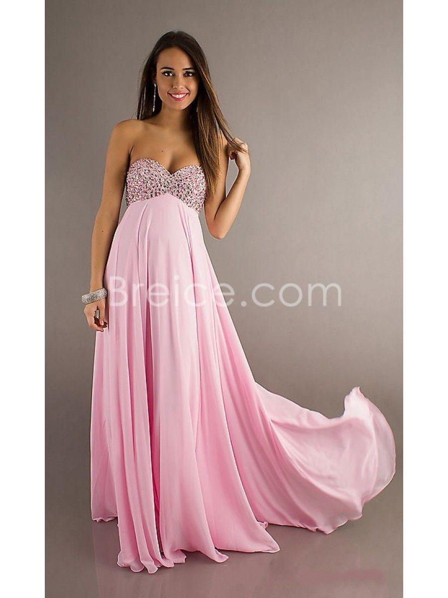 Empire Sweetheart Beaded Long Pink Chiffon Prom Evening Formal ...
