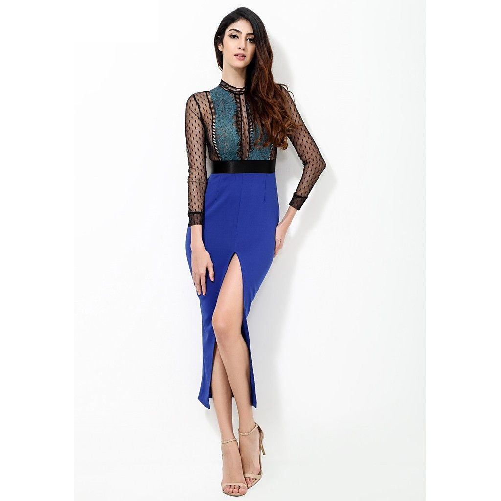 Blue see thru panel dress panel dress and products