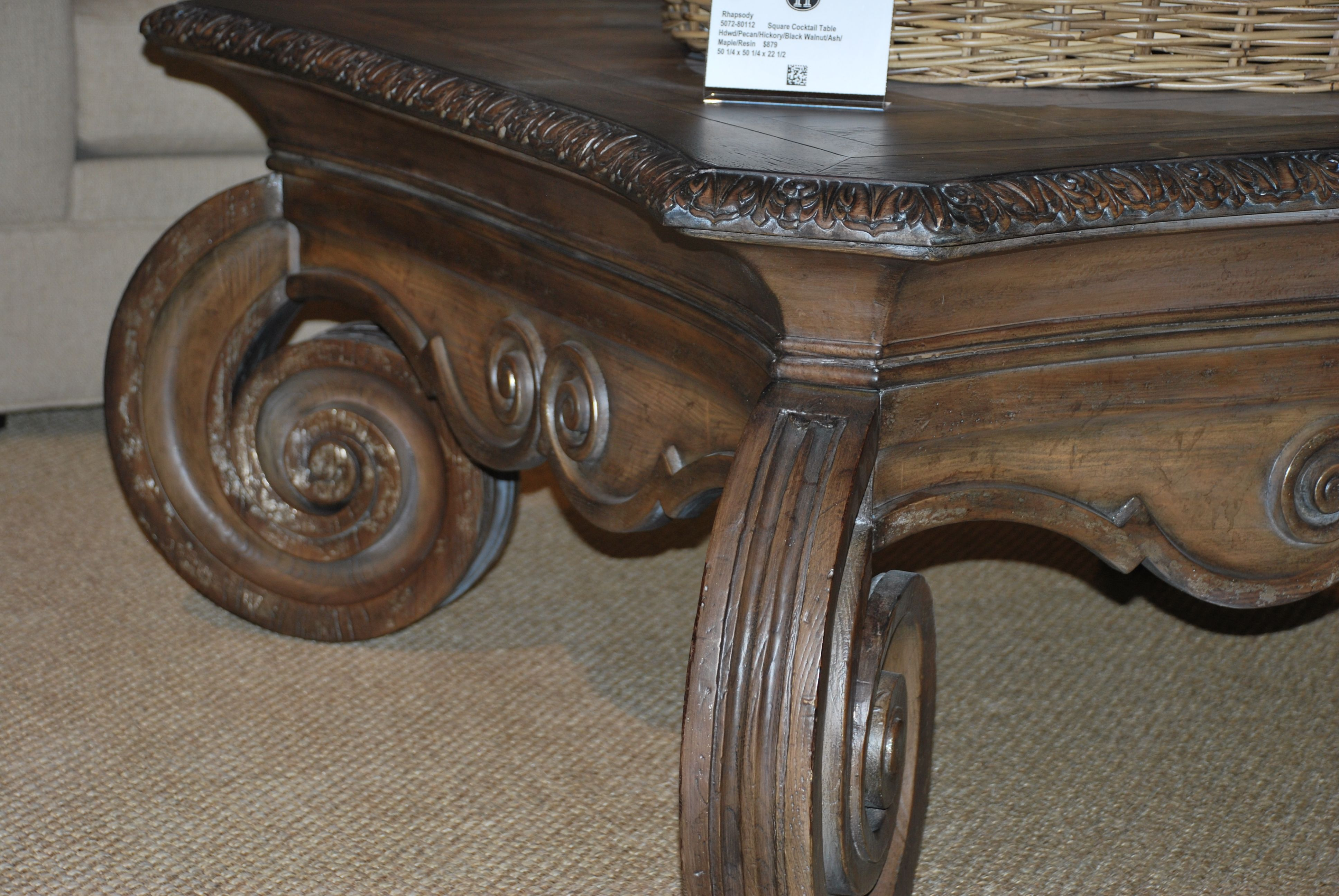 Hooker Furniture Over-scaled Scroll Motif. http://www.thehome.com/small-spaces-to-overscaled-opposites-attract/ #hpmkt