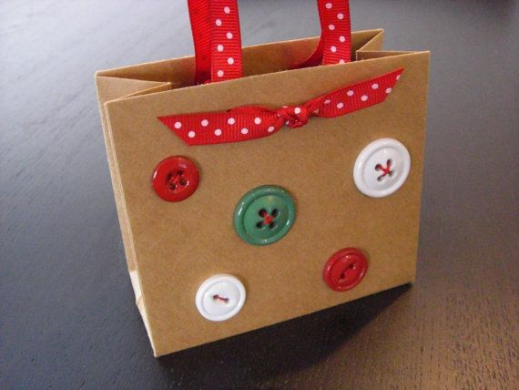 Button Art Museum .com - Mini Christmas Gift Bags dressed up with ...