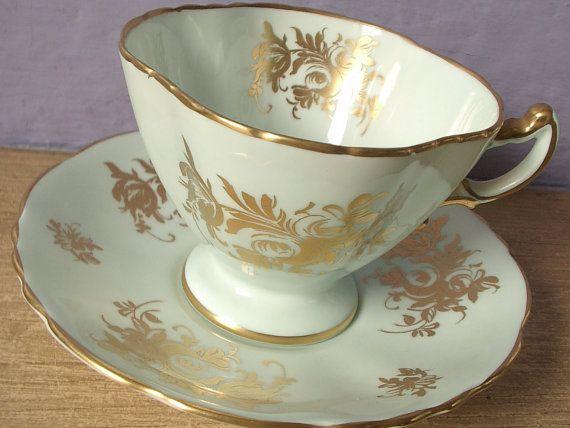 vintage bone china tea cup and saucer set, Hammersley English tea set, green and gold tea cup, wedding gift for bride via Etsy