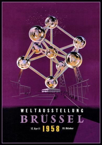 1958 World Expo Brussels Belgium Atomium Poster A3 Reprint