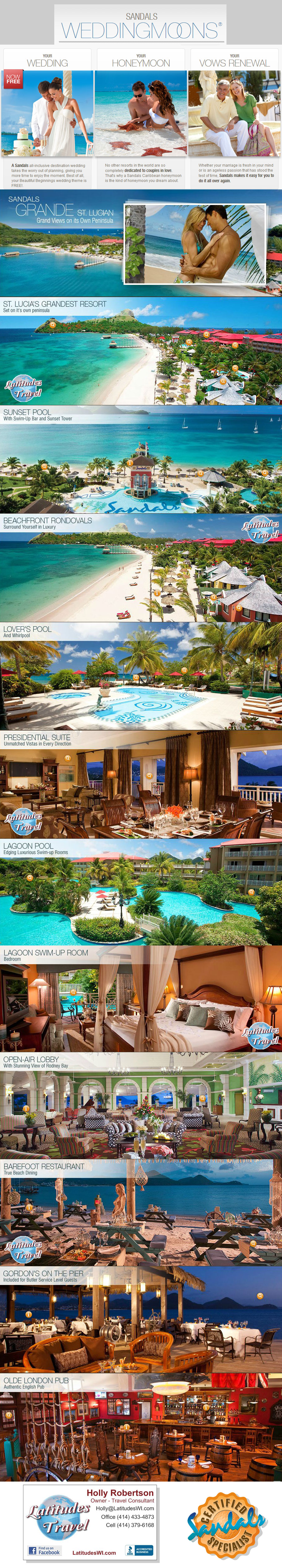 The Sandals Grande Resort on the Island of St. Lucia  Sandals Resorts and Destinations weddings now with many great new features and great offers too... including:  Free Beautiful Beginnings Wedding Ceremony  Free Honeymoon Packages  Contact one of LAtitudes Travel Sandals Resort Specialists Today  (414) 43-4873 or toll free (855) 433-4870  http://www.LatitudesWI.com  #Destinationwedding #wedding #Sandals #Resort #St.Lucia #Caribbean #Wedding #Honeymoon  #specials #free #Milwaukee #Wisconsin
