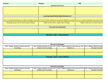 Interactive First Grade Social Studies Lesson Plan Template