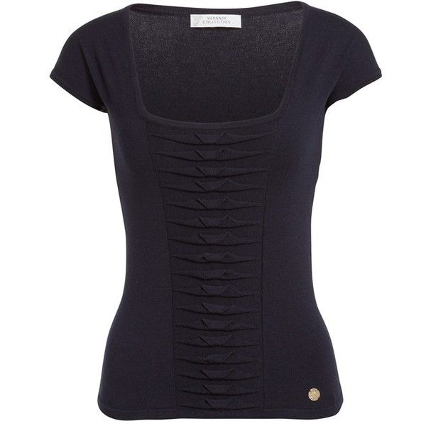 Women's Versace Ruched Knit Tee (660 BRL) ❤ liked on Polyvore ...