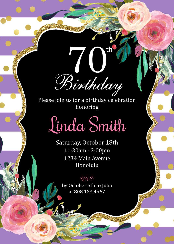 70th Birthday Invitation For Women. Floral Birthday Invitation ...