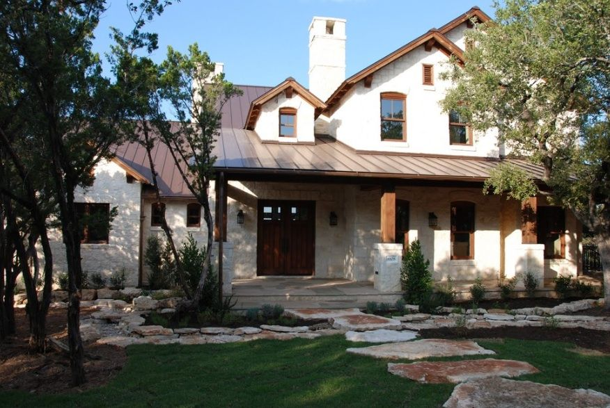 metal roof stone house Google Search Brown roofs