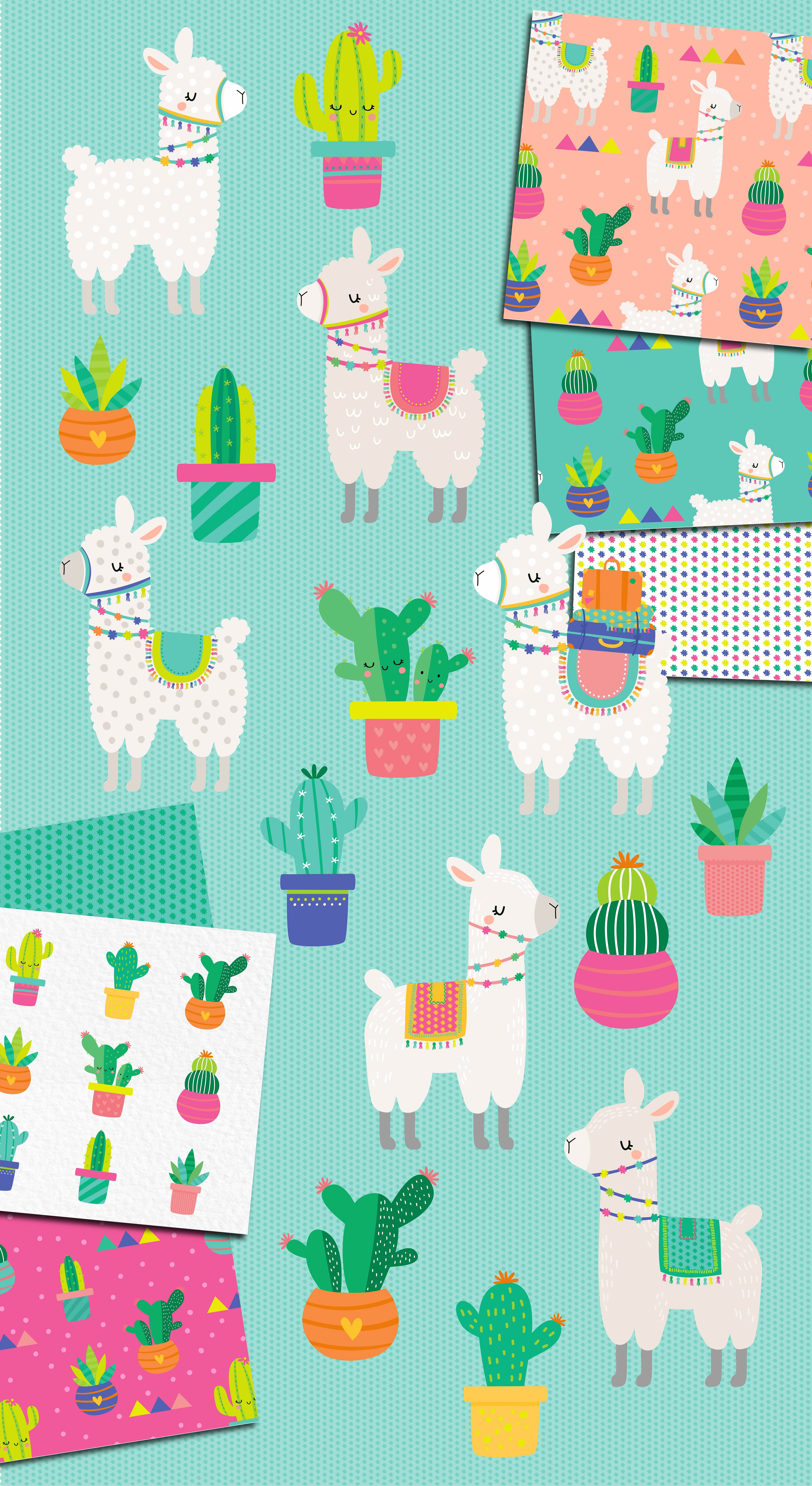 Cute Llama Amp Cactus Clipart Illustrations By Dillypeach