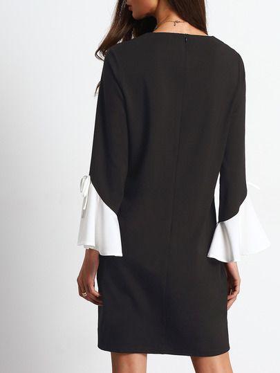 Shiftkleid Glocke Hülse Reißverschluss am Rücken -schwarz und weiß ...