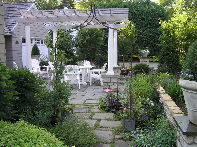Arbors In Landscaping | Bluestone Paver Patio With Arbor And Natural Stone  Walls