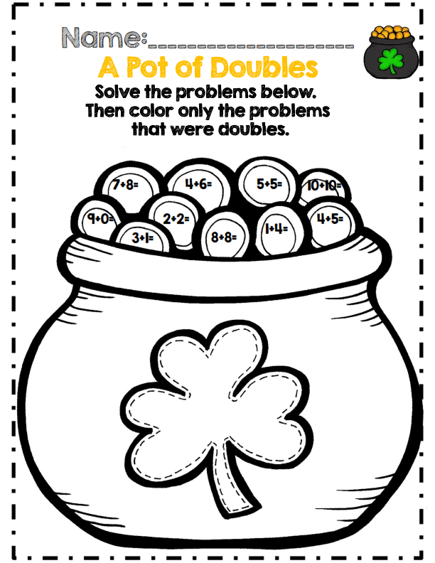 First Grade St. Patrick\'s Day Math Activity Set *Common Core Aligned ...