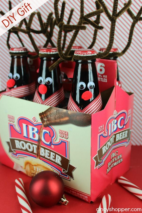 DIY Gift Reindeer Root Beer: but can be done with many different sodas