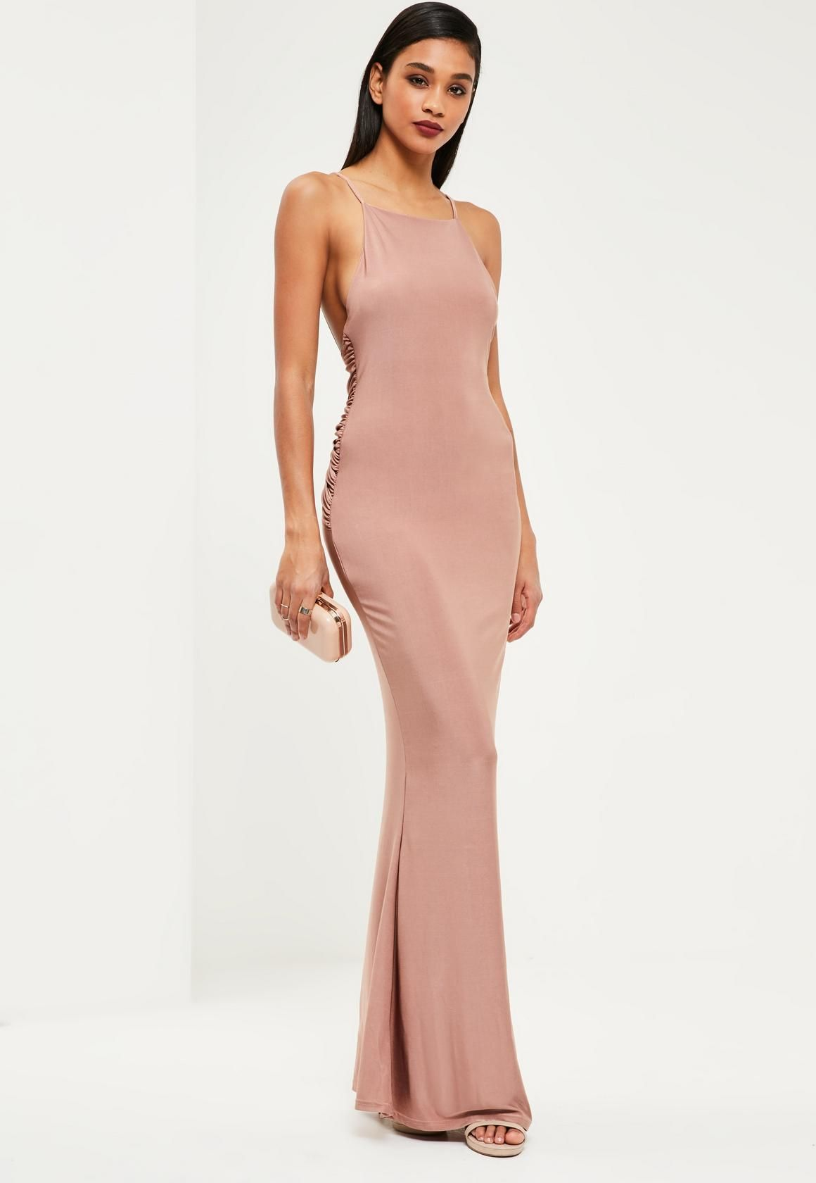 df91bd63b565 Missguided - Pink Slinky Ruched Bum Maxi Dress | History of art ...