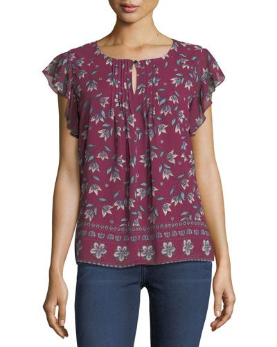 65a9bd8fdb734c NANETTE NANETTE LEPORE . #nanettenanettelepore #cloth #. Floral-Print  Flutter-Sleeve Keyhole Top ...