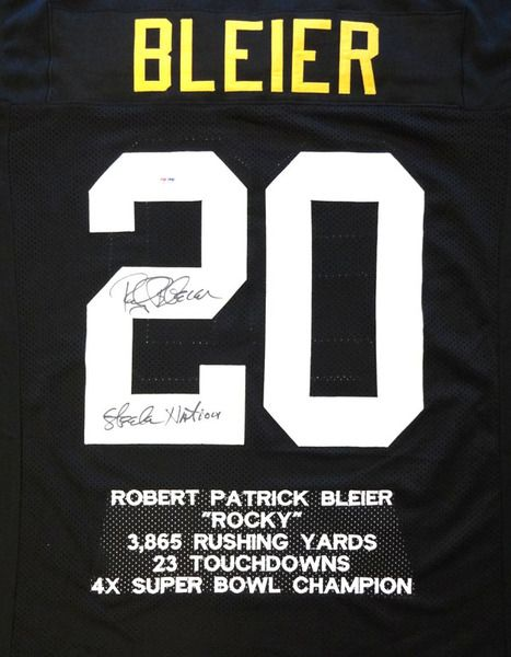 1c9bf7584 Rocky Bleier Autographed Pittsburgh Steelers Black Jersey