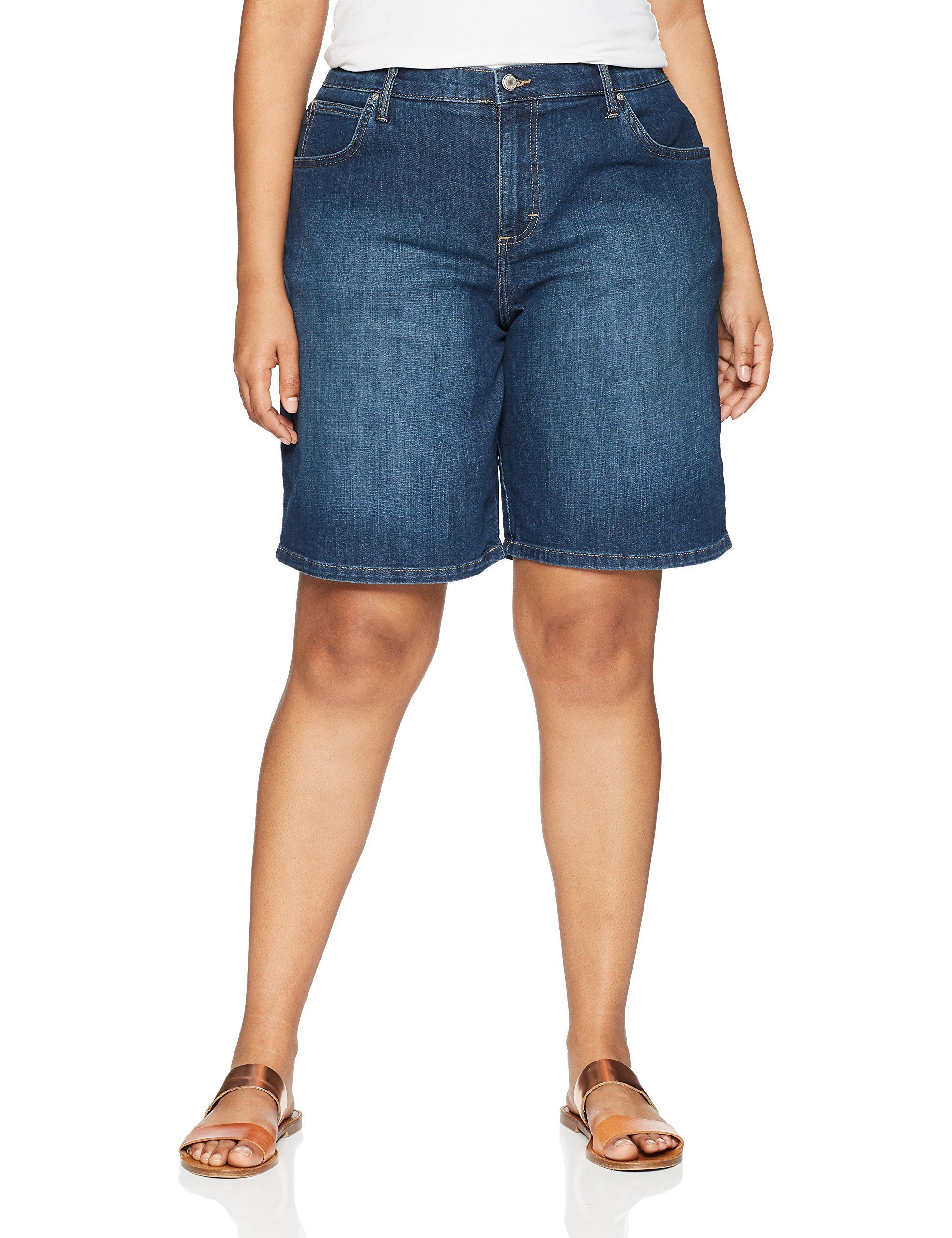 Chic Classic Collection Womens Stretch Elastic Waist Pull on Denim Bermuda