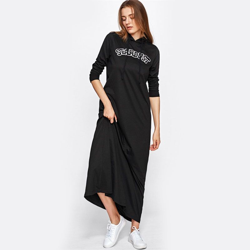 61ac71aa5ee Embroidered Patch Detail Maxi Hoodie Dress Get the Deal at https   www.