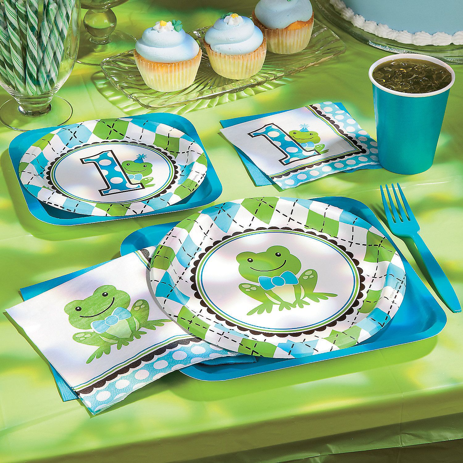 Preppy+Frog+Blue+1st+Birthday+Party+Supplies