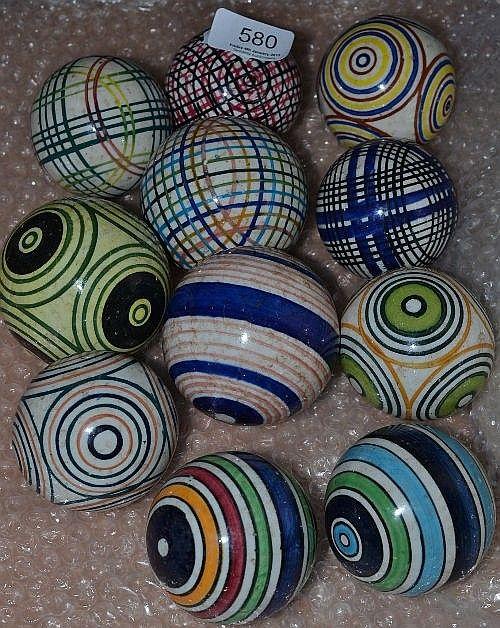 Eleven 19th Century Glazed Pottery Carpet Bowls Carpet Bowls Glazes For Pottery Pottery