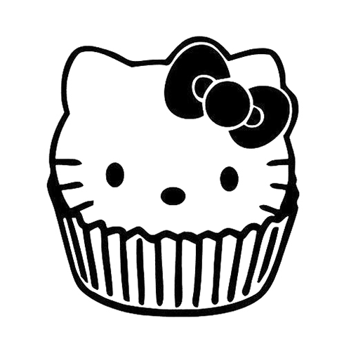Hello Kitty Cupcake Laptop Car Truck Vinyl Decal Window Sticker - Hello kitty custom vinyl decals for car