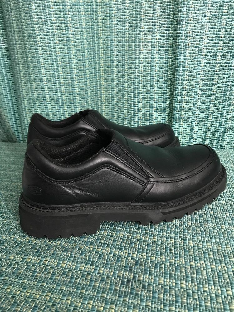 Skechers Mens Black Leather Slip On Loafers Size 10 #fashion