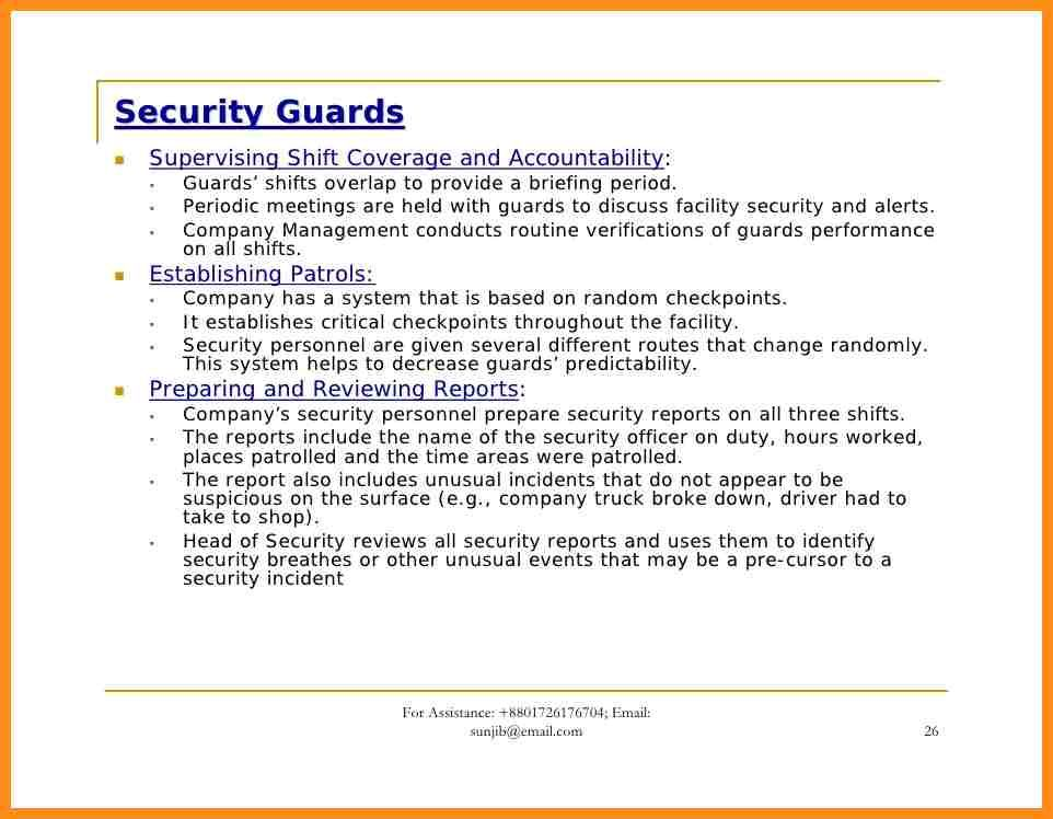 Security Officer Training Security Officer Report Template