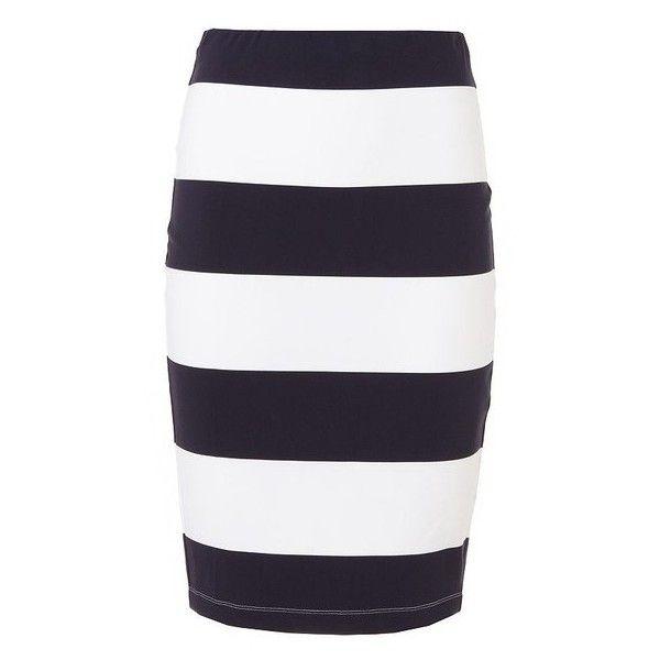 3b7621215e Navy White Striped Pencil Skirt ❤ liked on Polyvore featuring skirts, pencil  skirt, striped skirt, stripe skirt, navy and white striped skirt and knee  ...