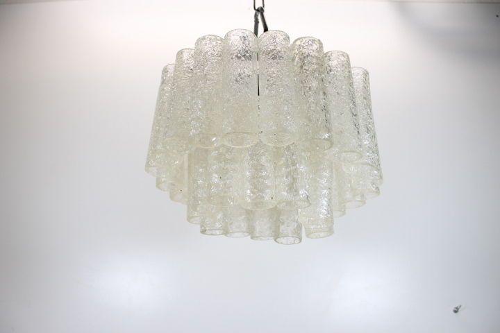 Lampada a sospensione vintage anni '60 con due applique in pendant. Lampada Lampadario A Boccia Vetro Murano Venini Tessuto Vintage Anni 70