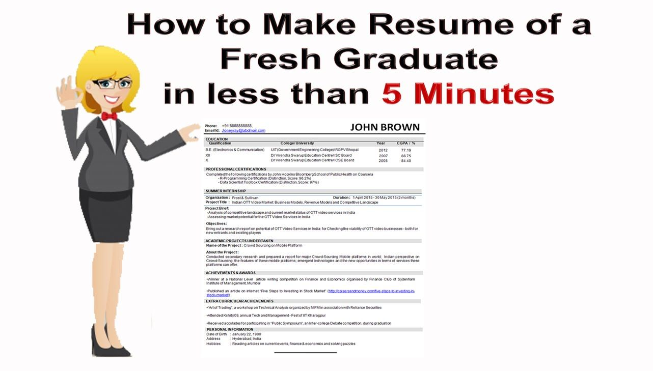 How To Prepare A Resume How To Make Resume Of A Fresh Graduate In Less Than 5 Minutes  Cv