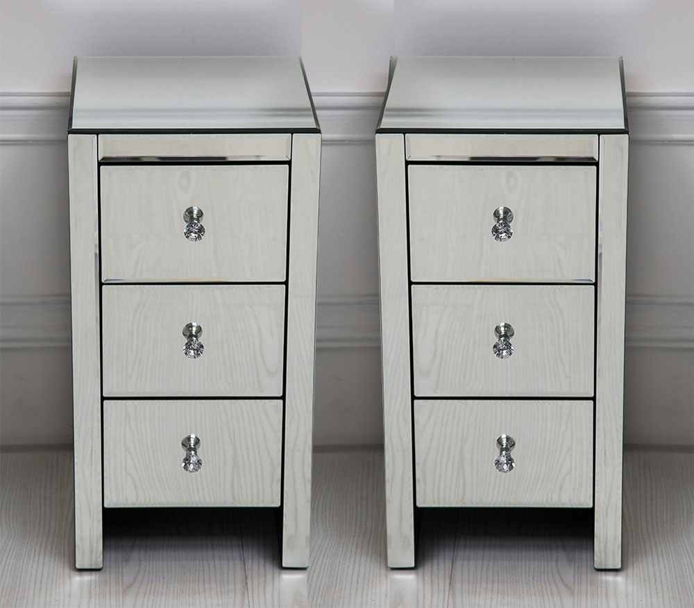 Best Pair Of Mirrored Three Drawer Bedside Tables Mirror 640 x 480