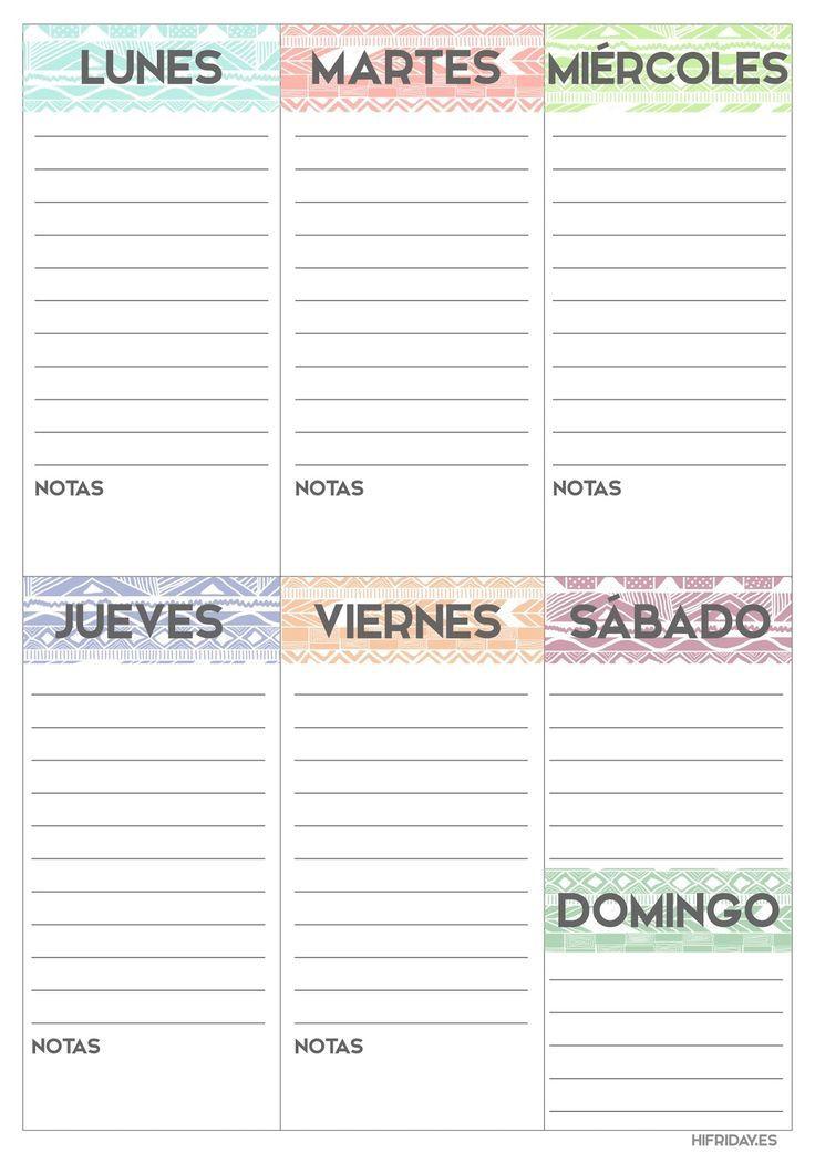 Planificador semanal para imprimir, descargable, gratis y en español ...