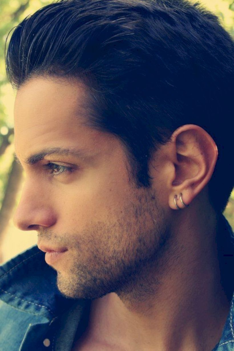 35 Amazing Piercing Ideas For Cool Men   Mens silver hoop