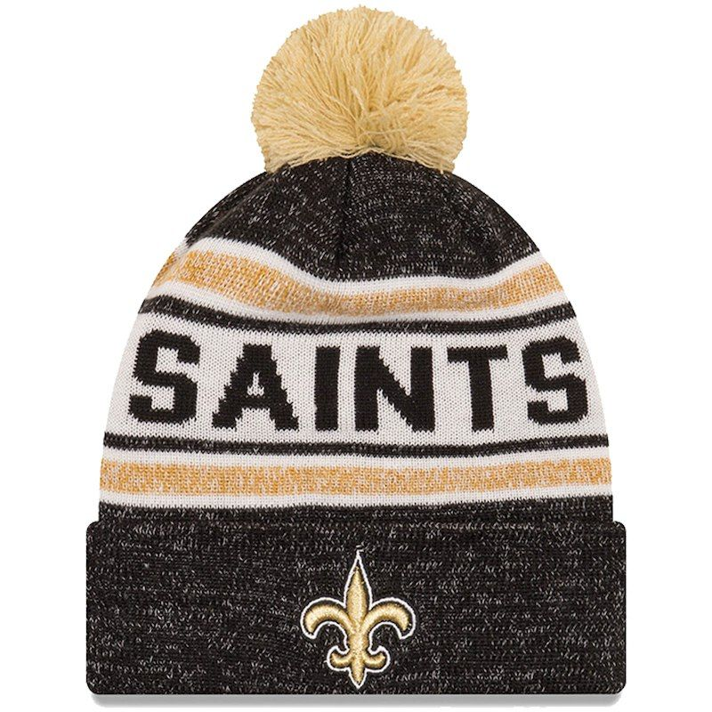 san francisco 03558 b3c26 New Orleans Saints New Era Toasty Cover Cuffed Knit Hat with Pom - Black