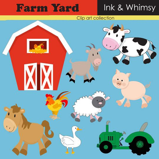 Clipart Farm INSTANT DOWNLOAD Clip Art Barn Yard Animal Digital