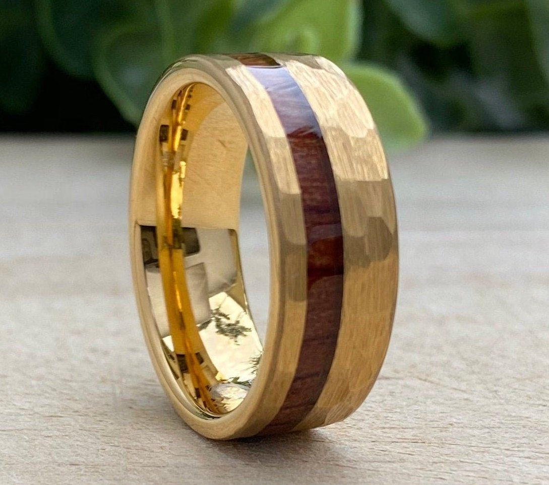 Mens Gold Hammered Tungsten Carbide Ring Wood Inlay 8MM
