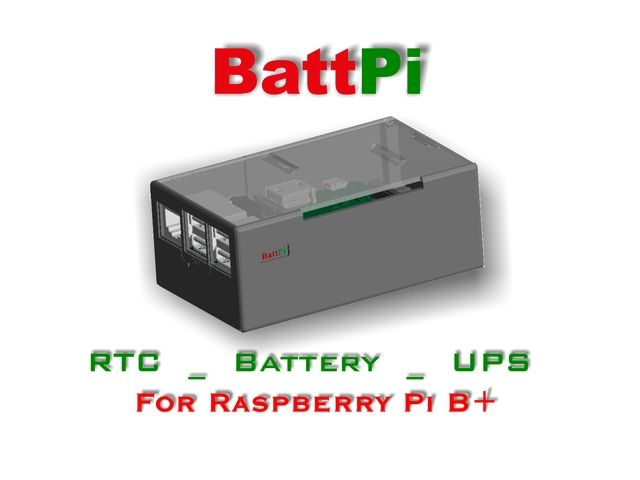 BattPi is a Case for Raspberry Pi with integrated Battery and Real Time Clock. Built in UPS offering up to 8 hours of battery life.