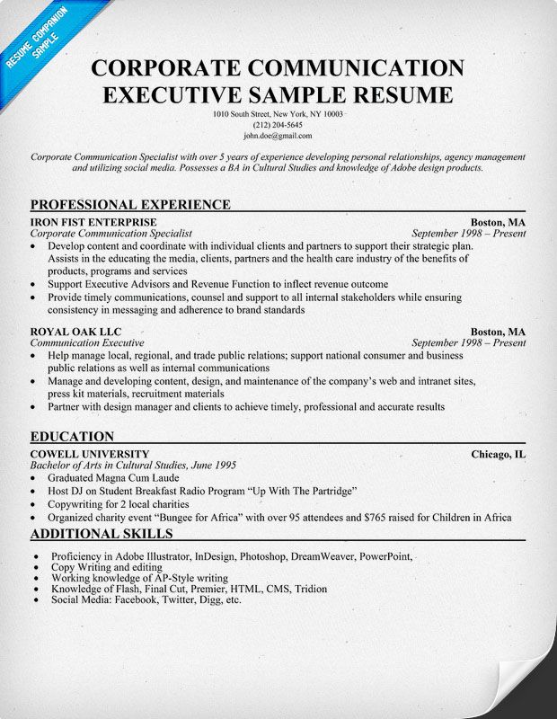 corporate communication executive sample resume