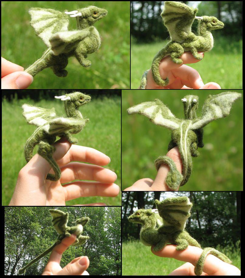 Felted green dragon collage by tallydragon #feltdragon