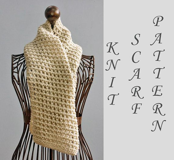 Easy Scarf Knitting Pattern Instant Download Open Work Scarf Pdf