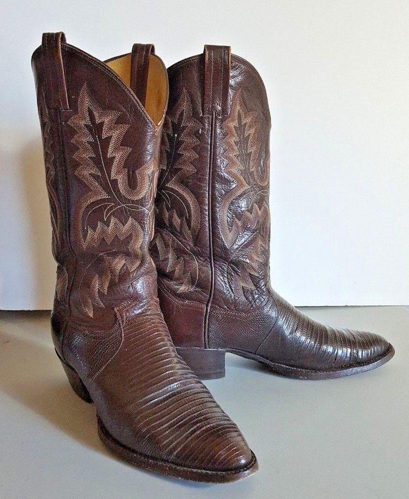 9b2a2c51486 Panhandle Slim Brown Lizard Skin Leather Cowboy Boots Mens 11 D ...