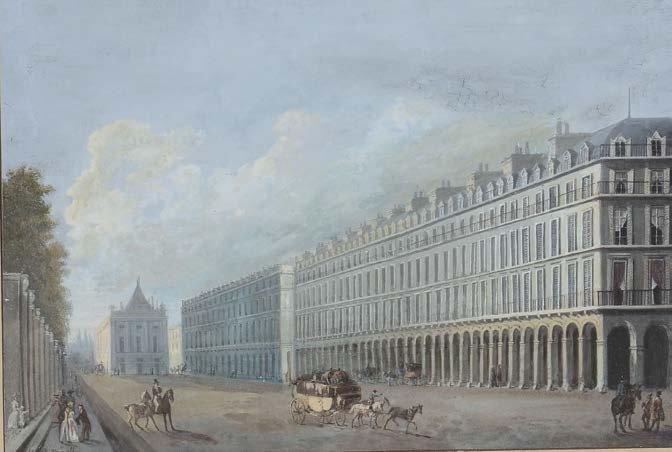 Anonimo del XIX secolo  Strada con palazzi tempera, cm 18,5x26, !rmato Cannella